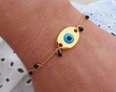 Evil Eye Bracelet - Gold Boho Chic Bracelet - Black Drop Bead Bracelet - Tiny Teardrop Bracelet - Bohemian Jewelry