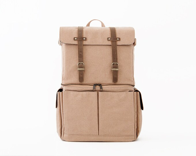 Camera Bag / Casual Daypacks / Laptop Backpack / Tan Canvas / JOURNEYMAN