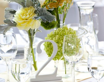 1-5 White Table Numbers, Wedding Table Numbers, Standing Table Numbers