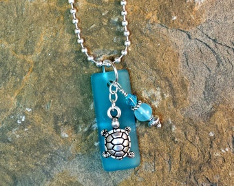 "Beach Sea Glass Turtle TierraCast Charm Dangle Crystals Pendant Necklace 24"" Silver"
