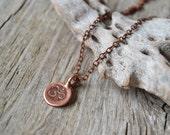 Tiny om necklace, lotus yoga necklace, yoga jewelry, copper ohm necklace, lotus jewelry, gift for her