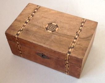 Victorian Tunbridge ware banded inlaid needlework box Sewing box Trinket box Keepsake box Wooden box