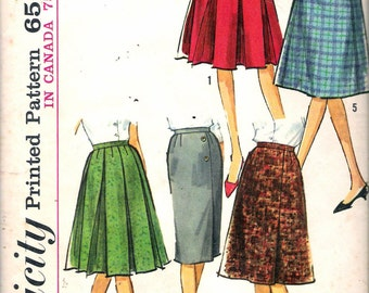 "Vintage 1964 Simplicity 5627 Five Skirt Wardrobe Sewing Pattern Size Waist 24"" UNCUT"