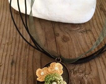 Crochet Pendant, Boho Beaded Necklace, Crochet Copper Plated Necklace, Ribbon Statement Pendant, Christmas Gift, Beaded Jewelry, ReddApple