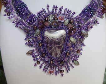 SALE, Beautiful Amethyst, Rich Deep Color and Amazing Pattern, Flowers and Leaves, Plum Colored Freshwater Pearls, Freeform Beadwork Collar