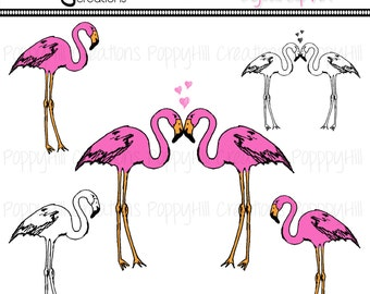 INSTANT DOWNLOAD - Hand Drawn Flamingo Printable Digital Clip Art - For Personal or Commercial Use - Digital Designs