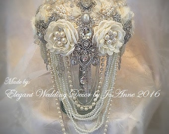 Vintage Ivory Style Brooch Bouquet, Ivory Cascading Pearl Bridal Brooch Bouquet, Ivory Brooch Bouquet, DEPOSIT ONLY, Keepsake Bouquet