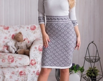 """Knitted dress """"Lapland"""" with a jacquard pattern of gray silky viscose, very pleasant to the skin. Midi dress"""