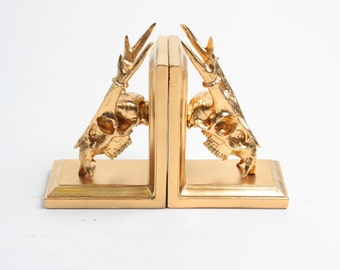 Muntiacini Skull Bookends in Gold - Muntjac Skull Bookends - White Faux Taxidermy - Gold Home Decor - Office Library Decor - Book Storage