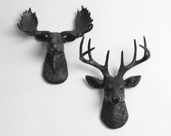 White Faux Taxidermy Minis Gift Set - Faux Animal Decor - Black Deer + Moose Head Wall Art - Resin Animal Heads & Wall Decor by WFT