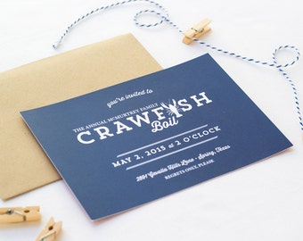 Crawfish Boil Party Invitation | Lobster Bake | Rehearsal Dinner | Engagement Party | Nautical Themed Printed Invite or Digital File DIY