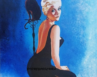 Bell Book and Candle BeWitching Kim Novak and Pyewacket Ooak 16 x 20 painting Pin Up, Sultry Retro Glamour Sexy Witch  by Disney Obscura