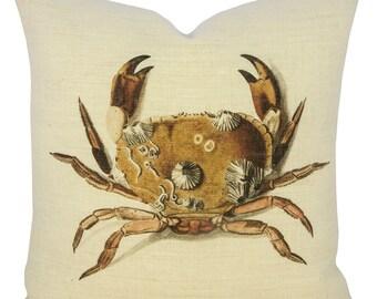 Crab Pillow, Burlap Nautical Cushion, Beach Pillow, Coastal
