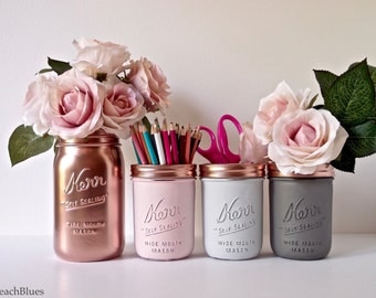 Blush Dorm Decor - Pink Copper / Mint Jade Silver - Painted mason jar - pencil holder- Vase - Centerpiece / set of 4 / Best seller