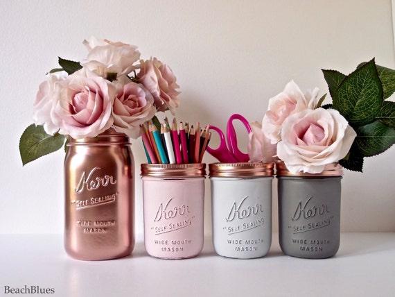Blush Dorm Decor - Pink Copper / Mint Jade Silver - Painted mason jar - pencil holder- Vase - Centerpiece / set of 4