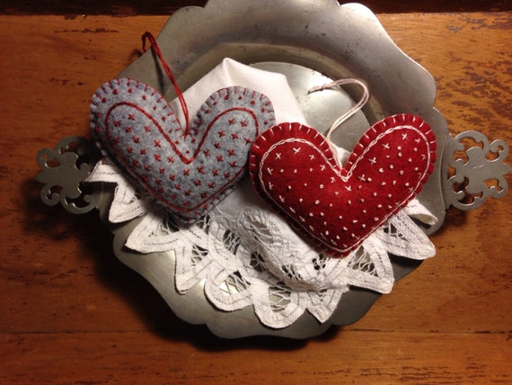 Valentine's Heart Ornaments or Door Hangers Embroidered, OFG, FAAP, Valentines's Day Decor, Hanging Hearts