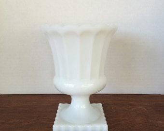 Vintage White Milk Glass Pedestal Vase