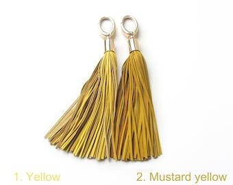 Leather Tassel, Yellow long tassel, Large tassel keychain