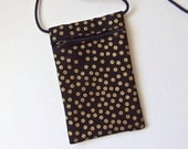 Pouch Zip Bag GOLD accents on Black Fabric - great for walkers, markets, travel. Cell Phone Pouch.. Evening purse. small black fabric purse