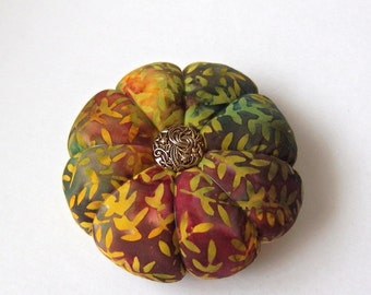 Pincushion AUTUMN FALL colors BATIK Fabric  Great for a sewing gift - Round Pin cushion Double Sided quilting fabric. Pins holder