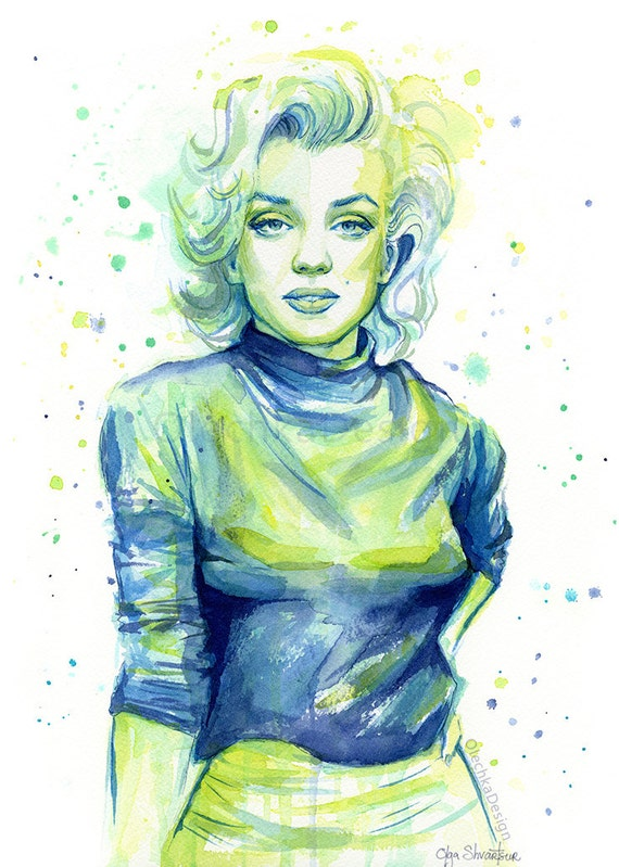 Marilyn Monroe Print, Marilyn Monroe Portrait, Marilyn Monroe Watercolor, Watercolor Print, Pop Icon, Old Hollywood, by Olga Shvartsur