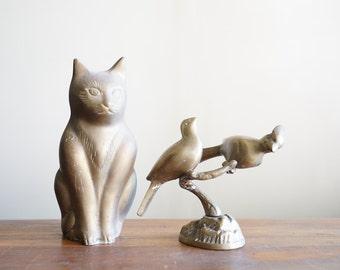 Vintage Brass Perched Bird Figurine