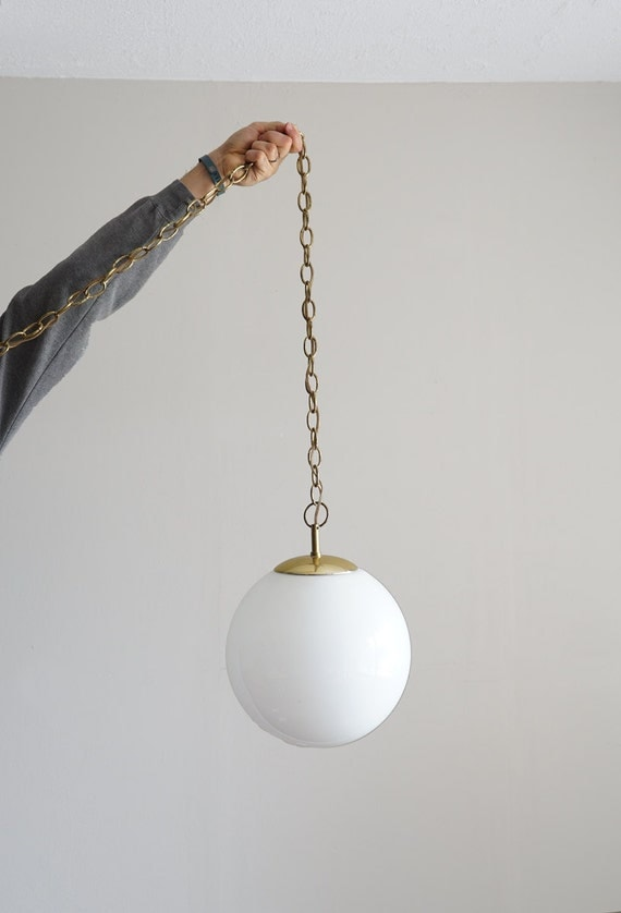 Vintage Hanging Pendant Lamp White Globe Light Fixture