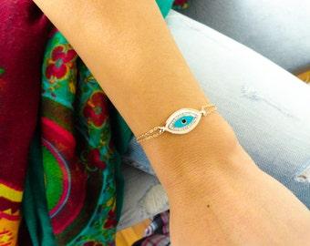 Turquoise evil eye bracelet gold plated evil eye jewelry turkish evil eye jewelry for mothers gift women turkish jewelry gioielli malocchio