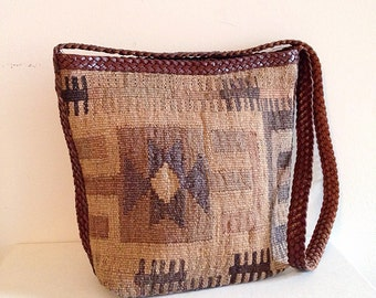 Vintage Southwest Kilim Carpet Tapestry Bag Hippie Boho