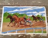 LINEN TEA TOWEL-Ulster Towel,Horse Racing Towel,Kentucky Derby Centerpiece,Table Linens,Horse Linens,Irish Linens,Horse Racing,Horses,Farm