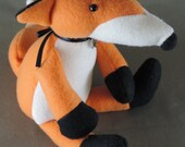 Fox stuffie toy, handmade fleece childs toy, 11 inches high with safety eyes, orange, black and cream