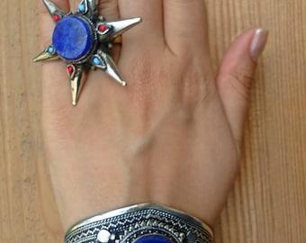 Lapis Lazuli ring- Tribal Turkmen Wedding ring Afghan Turkmen Silver Wedding Jewelry.Lapis Lazuli ring- Stone ring- Rustic ring- Fall trends
