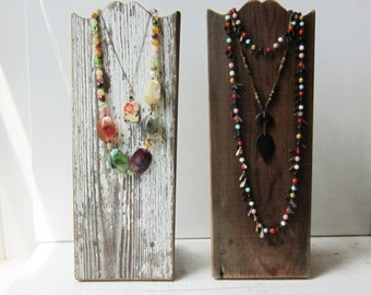 """One Rustic Necklace Display - Brown Barn Wood - OR - Chippy White - Salvaged Wood - Available in 12"""" 16"""" 20"""" Made to Order"""