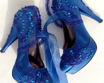 Wedding Shoes - Royal Blue Embroidered Lace Bridal Shoes