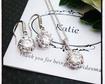 Bridal Jewelry Set, Wedding Jewelry Set, Bridesmaid Jewelry Set, Simple Bridal Jewelry Set, Bridal Earrings, Wedding Jewelry, Bridal
