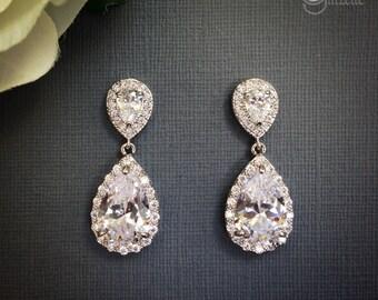 Crystal Teardrop Earrings, Bridal Earrings, Crystal Bridal Jewelry, Crystal Dangle Earrings, Crystal  Bridal Earrings, Wedding Jewelry