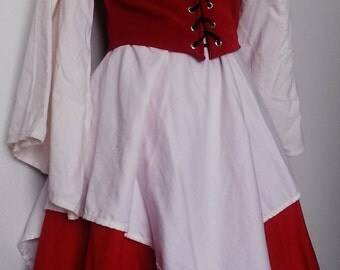 M Front Lace Wench Bodice in Red Velvet, Underbust