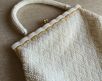 Vintage Beaded Purse with Scalloped Pearl Lucite Frame