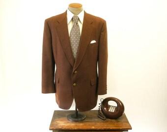 1970s Brown Suit Jacket Knit Polyester Mens Vintage Blazer / Sport Coat by Jack Nicklaus Golden Bear - Size 46 (XL)