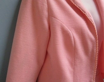 Vintage 1960's Pink Skirt Suit Spring Summer Crop Jacket and Skirt
