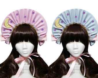 Kawaii Moonbeam and Stars Bonnet - 3+ Colors Available - Made to Order