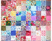 "Liberty Fabric 100 Mini Charm Quilt Squares 2.5"" Ideal for Patchwork Quilting Floral Pattern Rainbow Liberty of London Cotton Tana Lawn"
