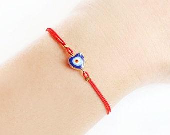 Evil eye jewelry, heart bracelet, red string bracelet, istanbul, turkish jewelry, ethnic, arabic, best friend birthday gift, friendship