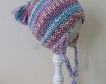 Wool blend earflap baby hat, soft hand knit child's hat with braids, hand knitted pink & purple Winter hat, girl 1 to 2 years
