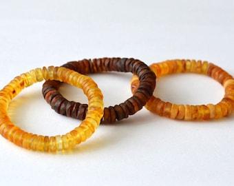 Baltic amber bracelet for men, raw amber bracelet, unpolished amber for him, amber for men, mens bracelet