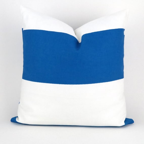 Royal Blue And White Throw Pillows : Royal Blue & White Throw Pillow Cover MANY by DeliciousPillows