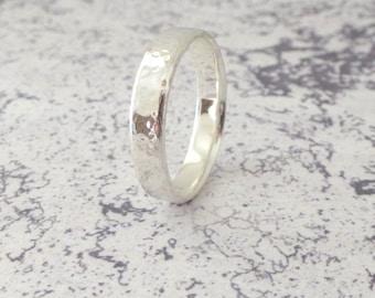 Sterling Silver Wedding Band - Hand Shaped Slim Court Wedding Ring - Slight Court - Blended Court - Sterling Silver Wedding Band