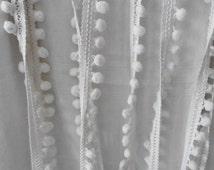 French Vintage, Pom Pom Trims, 5 Dollars a Yard ,10 Yards,  Curtain Braid, Vintage Trims, Paris France, 1950's Curtains