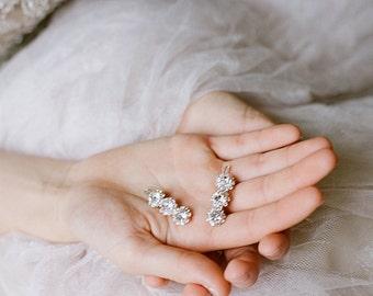 Small Barrette, Swarovski Crystal Flower Girl Barrette,  ADÈLE Small Diamante Barrette, Fine Hair Small Bridal Barrette