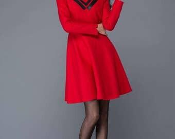 Womens dresses,red wool dress, cute dress, girls dresses, winter dresses,red dress, mini dresses, maxi dress, black PU collar  dress C1030